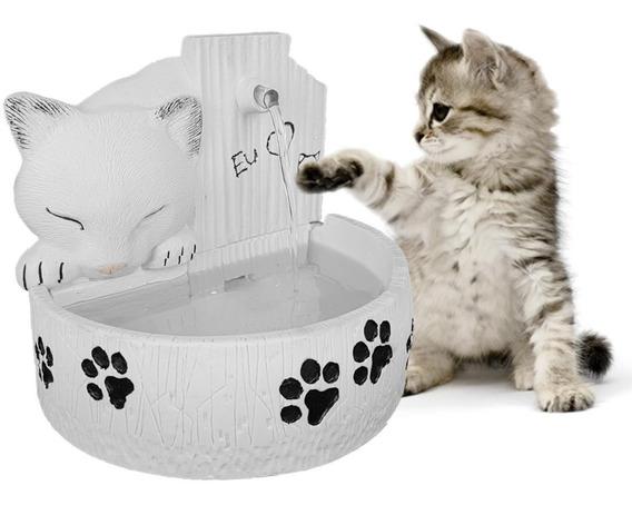Bebedouro Para Gato Fonte De Água Para Gato Em Resina Branca