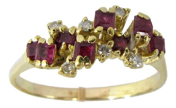 4468 Anel De Ouro 18k 750 Com Diamante Natural E Rubis