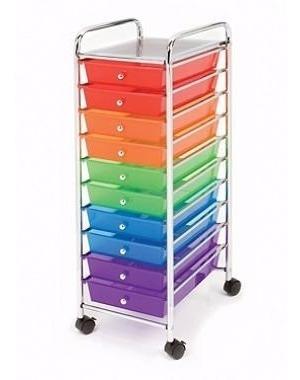 Carrito Con Ruedas Organizador 10 Cajones Multicolor