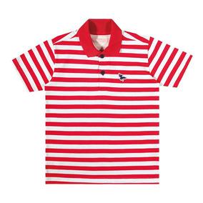 Camisa Marisol Polo Play Listrada Menino Vermelho