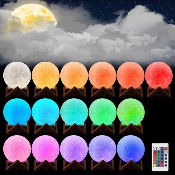 Led Lua Noite Luz 3d Sensor Tocar Lua Lamp Controle Remoto 1