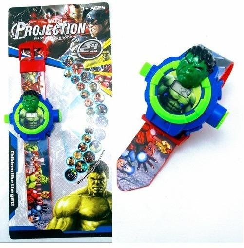 Relógio Hulk Projetor De Imagens 24 Grids Vingadores Avenger