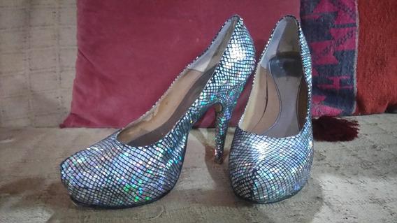 Zapatos Stilettos Plateados Plataforma Brillosos Fiesta