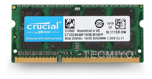 Memoria Ram Para Portatil Ddr3l 8gb Crucial 12800 Systore