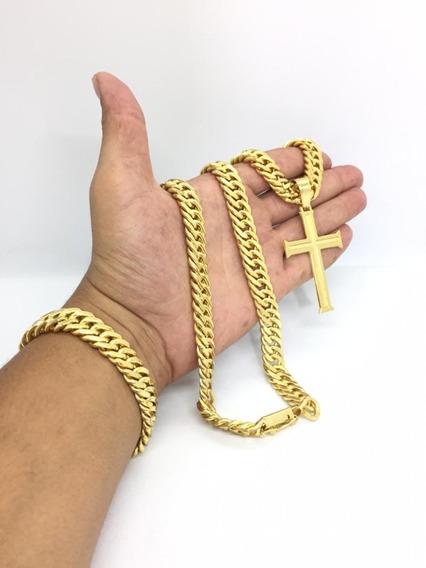 Corrente Masculina Cordão 13mm E Pulseira Banhado A Ouro