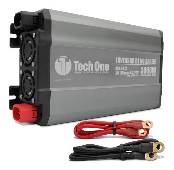 Inversor De Voltagem Tech One 3000w 12v 220v Conversor Usb