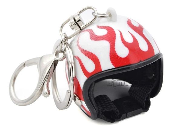 Chaveiro Capacete Moto Branco Com Fogo Vermelho Detalhado