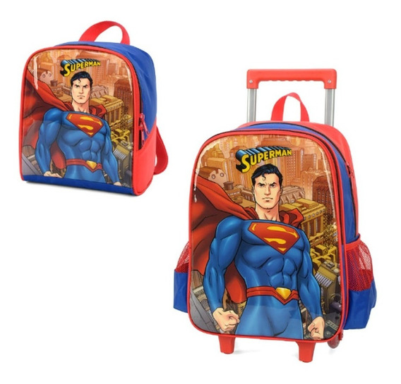 Kit Mochila Rodinha Média Superman + Lancheira Térmica M2020