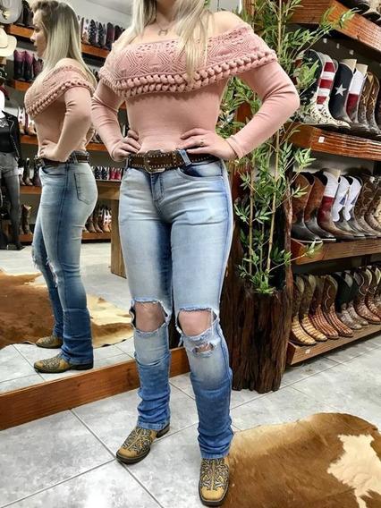 Calça Feminina Uzare Boot Cut Jeans Claro Original