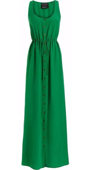 Vestido Longo Feminino Cavado Com Botão Frente E Bolsos 155