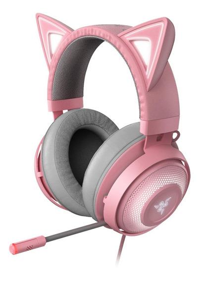 Fone de ouvido gamer Razer Kraken Kitty quartz pink e rgb