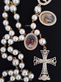 Terço De Noiva, Com 2 Medalhas De Foto, Cruz Vazada