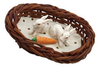 Cesta Con Conejos Y Zanahoria Miniatura Para Casa De Mu?ecas
