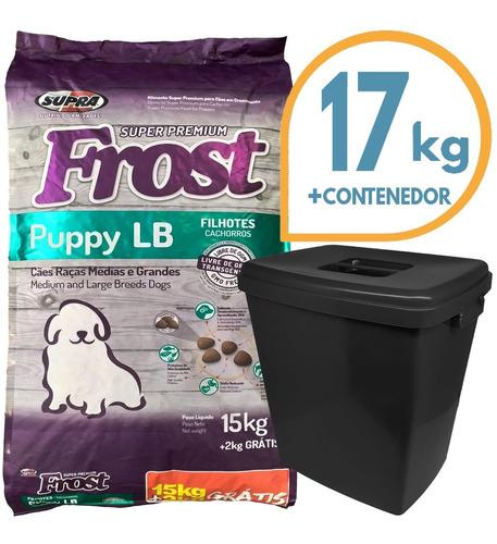 Imagen 1 de 2 de Comida Perro Cachorro Frost Large Breed 17 Kg + Contenedor