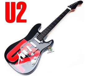 Guitarra Rock Enfeite Miniatura 25cm Madeira - U2 Show