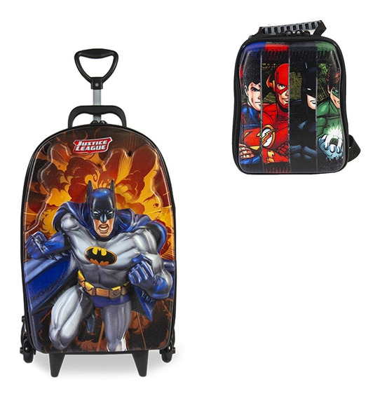Mochila Escolar Liga Da Justiça Batman 3d Rod + Lancheira