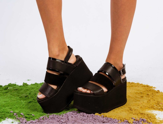 Sandalias Plataformas Zapatos Negras Altas Nuevas