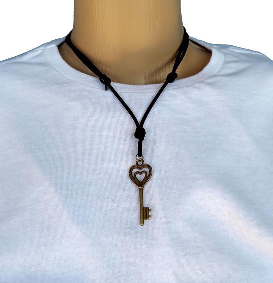 Colar Chave Coração Bronze Antigo Frete Fixo 10 Reais
