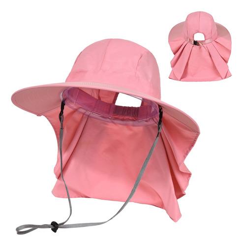 Imagen 1 de 10 de Sombrero De Sol Para Mujer, Ala Ancha, Con Solapa Para El Cu