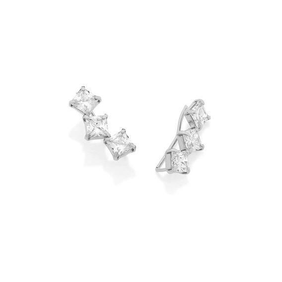 Brinco Earcuff 6 Zircônias Diamante Prateado Rommanel 121702