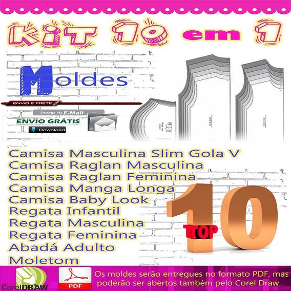 Kit 10 Moldes, Modelagem, Gabarito, Camisa Masculina E Fem