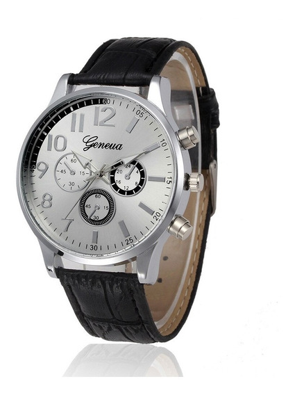 Relógio Masculino Geneva Social Analógico Casual Pulseira Couro Retro Quartzo Fashion Oferta!
