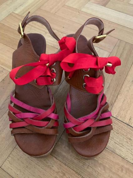 Zapatos Sandalia Taco Madera Ancho Jazmin Chebar Talle 37