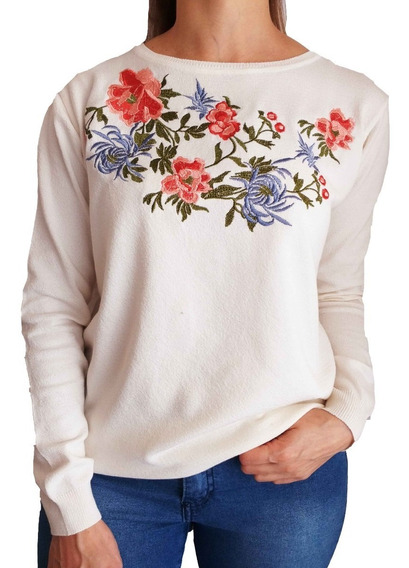 Sweater Mujer Bordado Importado Bremer Talle Grande
