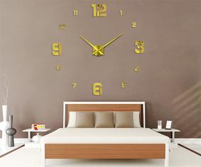 Relógio Parede Decoração Grande Dourado Analógico Muhsein