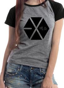 Camiseta Babylook Raglan Exo Nome Costas + Brinde