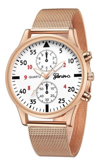 Reloj Nuevo Original Analógico De Acero Inoxidable | Geneva