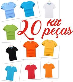 Camiseta Infantil Lisa 100% Algodão Manga Curta Kit 20 Peças