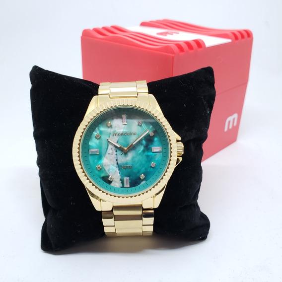 Relógio Mondaine Feminino Fundo Verde Dourado