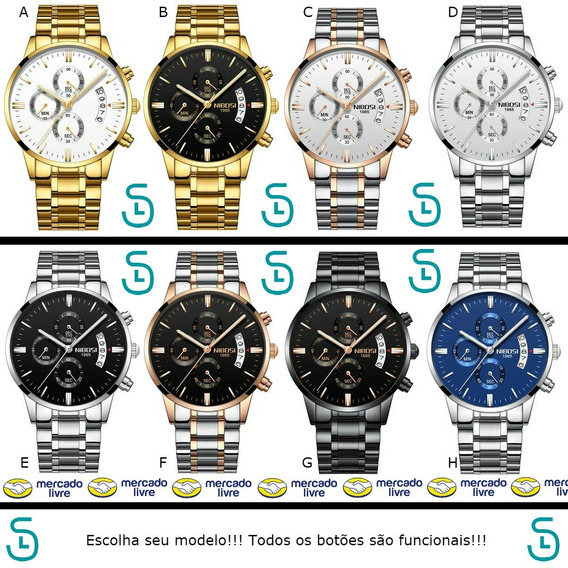 Relógio Nibosi Original Cronógrafo Luxo Frete Grátis Modelos