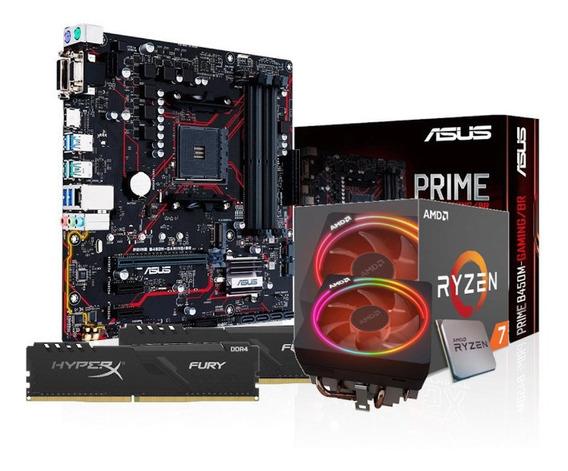 Kit Processador Amd Ryzen 7 2700x Asus B450m-g 2x8gb Hx Fury