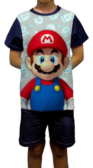 Pijama Infantil Personalizado Mário Bros