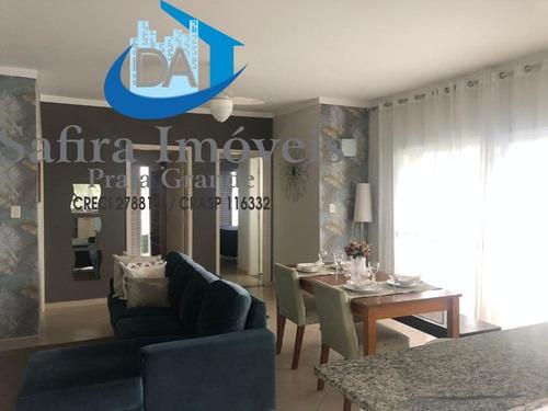 Excelente Apartamento Mobiliado,com Vista Frente E Lateral  Para O Mar, No Solemar. Localização Privilegiada, Tranquila E Agradável. Temos Opção De Un - Ap00876 - 68686626