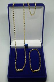 Cordão + Pulseira Modelo Tijolinho Banhado A Ouro 18k