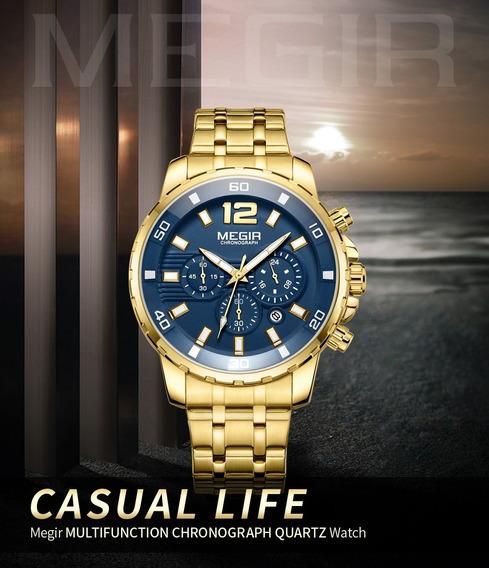 Relógio Megir Masculino Cronógrafo Dourado Clássico Mg2068g