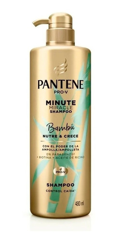 Imagen 1 de 7 de Shampoo Pantene Pro-v Minute Miracle Bambú Nutre & Crece 480