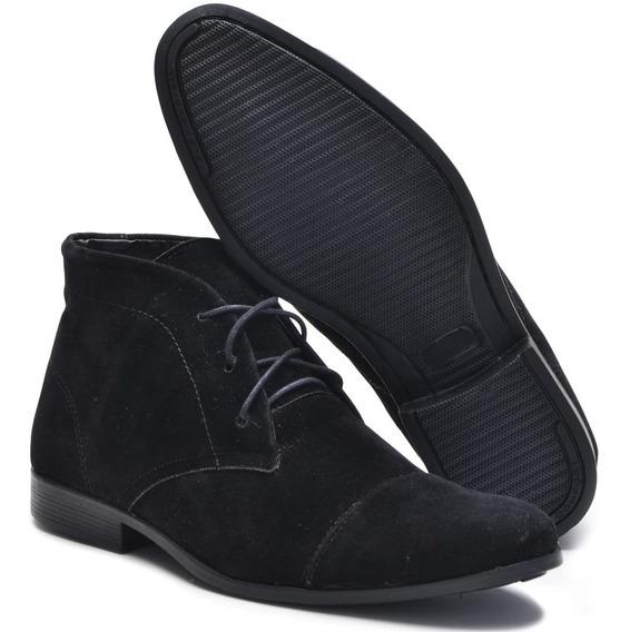 Sapato Camurça Masculino Unissex Salto Baixo Botinha Cadarço