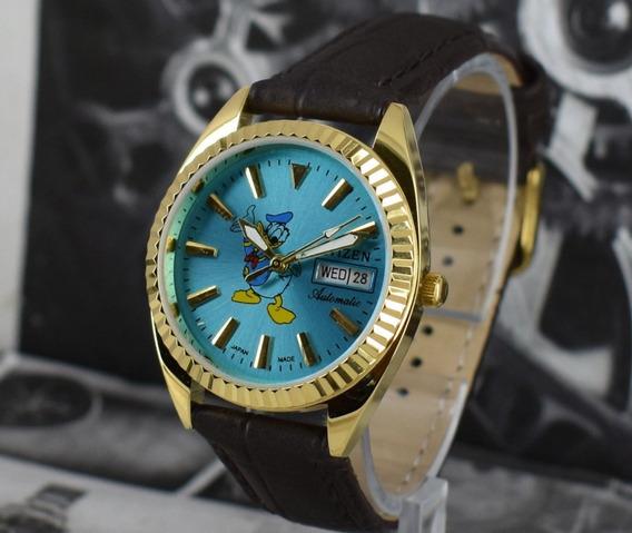 Relógio Antigo Citizen Automático Pato Donald Banhado A Ouro