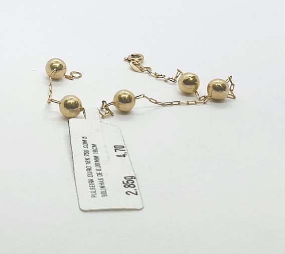 Pulseira Em Ouro 18k Com Bolinhas De 6,00mm 18cm 2,85g