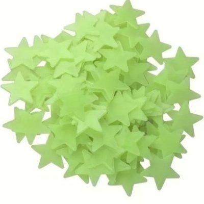 24 Estrelas Fluorescentes Neon Teto/parede Brilha Escuro!