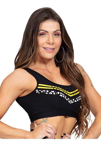 Roupa Feminina Top Moda Fitness Com Silk Oncinha Tribal 1014