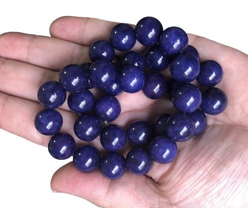 Jade Azul Safira Bola Esfera Lisa 12mm Teostone Colar 1762