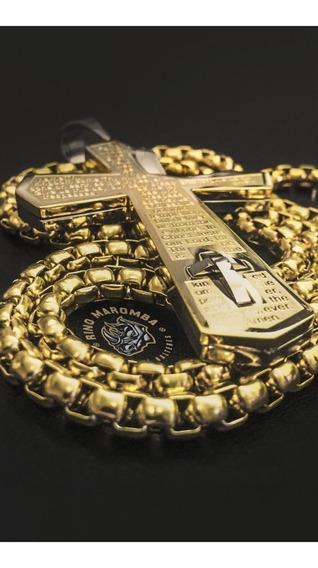 Cruz Banhada Em Ouro + Corrente De 5mm 70cm