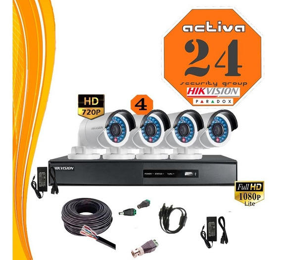 Kit Seguridad Hikvision Dvr 8ch +4 Camaras Full Instalacion