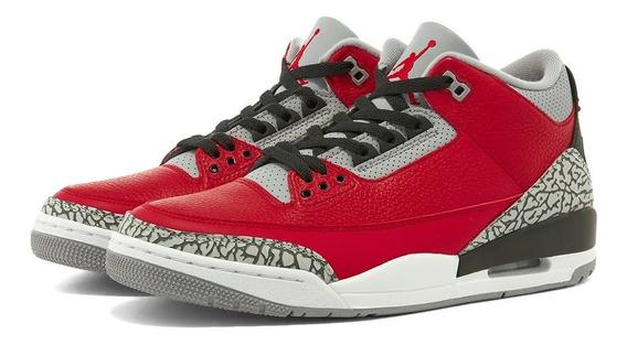 Tenis Air Jordan 3 Retro Red Cement Originales Black Fire