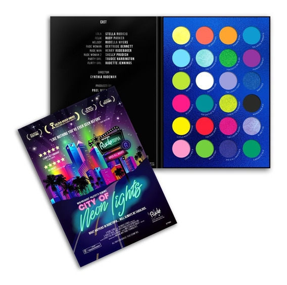 Paleta 24 Sombras Neon City Of Neon Lights Rude Cosmetics